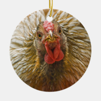 Gold-Laced Wyandotte Chicken Ceramic Ornament