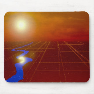 Gold land grid with sun and river mouse pads