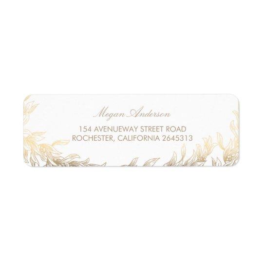 Gold Laurel Branches Wedding Return Address Label