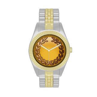 Gold laurel monogram watch