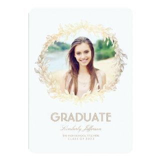 Gold Laurel Photo Graduation Party Card