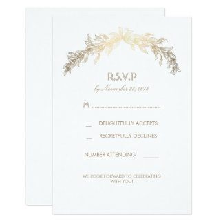Gold Laurel Wreath Wedding RSVP Cards