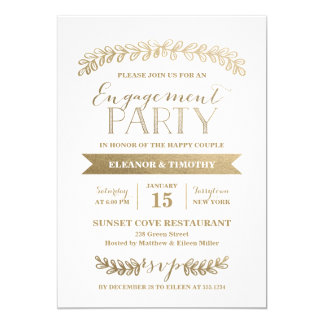Gold Laurels Engagement Party Invitation