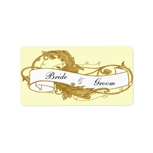 Gold Leaf and Banner Wedding Favour Tags Address Label