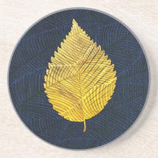 Gold Leaf Blue Rustic Coaster