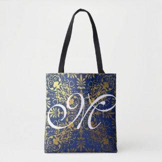 Gold Leaf Blue Victorian Presto Monogrammed Tote Bag