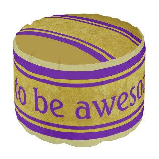 Gold Leaf Border violet + your backgr. & text Round Pouffe