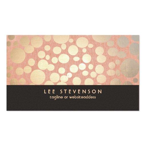 Gold Leaf Circles Makeup Artist Peach Linen Look Business Card Template
