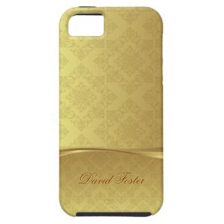 Gold Leaf Damask Luxury Look with Custom Name iPhone 5 Cases