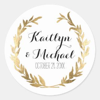 Gold Leaf Faux Stickers Modern Laurel Wreath Party