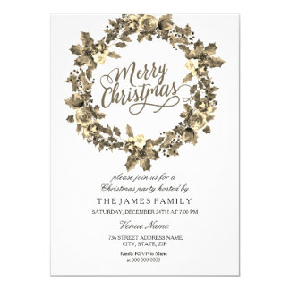 Gold Leaf Floral Wreath Christmas Party Invite