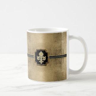 Gold Leaf Look Fleur de Lis Faux Vintage Jewel Basic White Mug