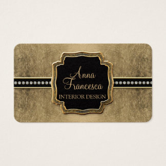 Gold Leaf Look Fleur de Lis Faux Vintage Jewel Business Card