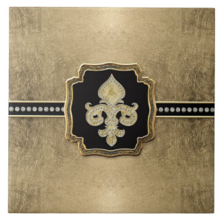Gold Leaf Look Fleur de Lis Faux Vintage Jewel Large Square Tile