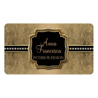 Gold Leaf Look Fleur de Lis Faux Vintage Jewel Pack Of Standard Business Cards
