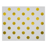 Gold Leaf Metallic Faux Foil Large Polka Dot White Poster