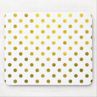 Gold Leaf Metallic Foil Small Polka Dot White Mouse Pad