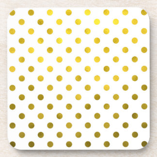 Gold Leaf Metallic Polka Dot on White Dots Pattern Coaster