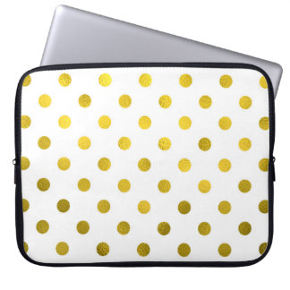 Gold Leaf Metallic Polka Dot on White Dots Pattern Laptop Sleeve