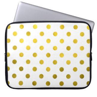 Gold Leaf Metallic Polka Dot on White Dots Pattern Laptop Sleeve