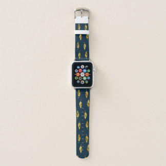 Gold Leaf & Navy Pattern Apple Watch Band