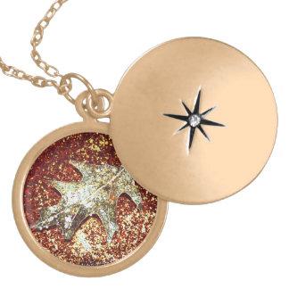 Gold Leaf Necklace Locket