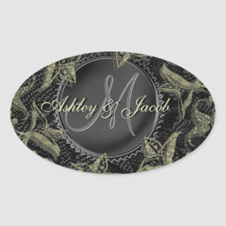 Gold Leaf on Black Lace Wedding Seal Unique Oval Sticker