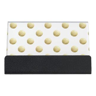 Gold leaf photo polka dots desk business card holder