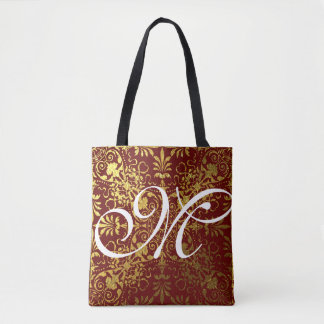 Gold Leaf Red Victorian Presto Monogrammed Tote Bag