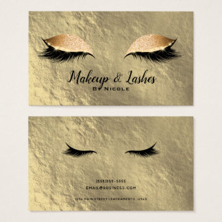 Gold Leaf Sparkle Makeup Eyelashes Lashes Glam Business Card