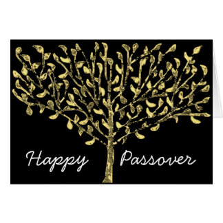 Gold Leaf Tree Passover Card