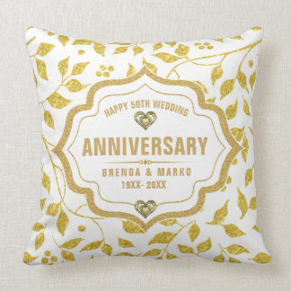 Gold Leafs Pattern 50th Wedding Anniversary Cushion