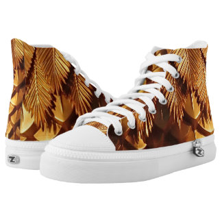 Gold Leafs  Zipz High Top Shoes,White