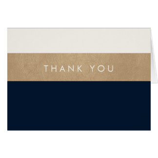 Gold leather and navy blue Thank You Note Card