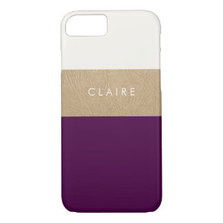Gold leather and plum iPhone 8/7 case