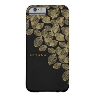 Gold Leaves Black Autumn Elegance Barely There iPhone 6 Case