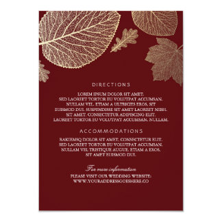 Gold Leaves Burgundy Wedding Details - Information 11 Cm X 16 Cm Invitation Card
