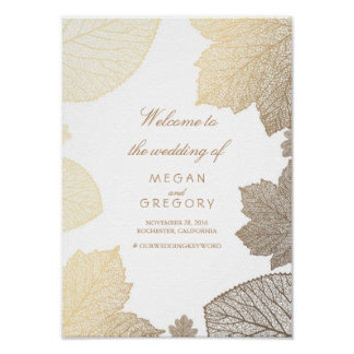 Gold Leaves Fall Wedding Welcome Sign Poster