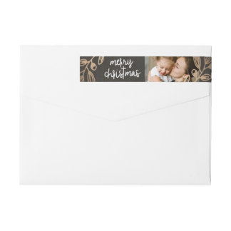 Gold Leaves Holiday Photo Wrap Around Label