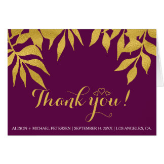Gold leaves purple mulberry fall thank you wedding card