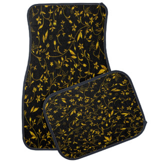 Gold leaves with black back ground car mat