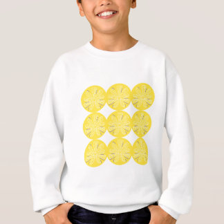 Gold lemons on white sweatshirt