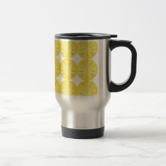 Gold lemons on white travel mug