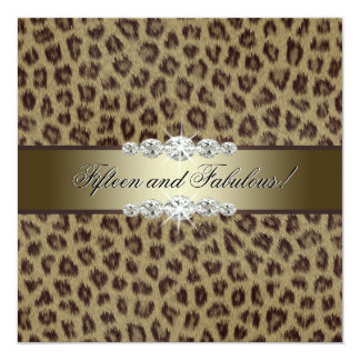 Gold Leopard 15th Birthday Party Card