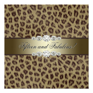 Gold Leopard 15th Birthday Party Personalized Announcement