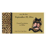 Gold Leopard And Black Pearls Save The Date Photo Card