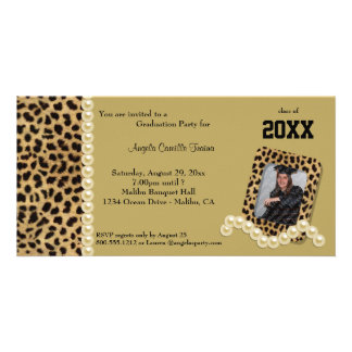 Gold Leopard And Matching Pearls  Invitation Personalized Photo Card