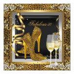 Gold Leopard Black High Heels Shoes Birthday 13 Cm X 13 Cm Square Invitation Card