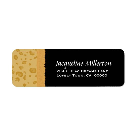 Gold Leopard Print and Lace Birthday Collection Return Address Label