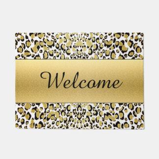 Gold Leopard Print Customizable Welcome Mat